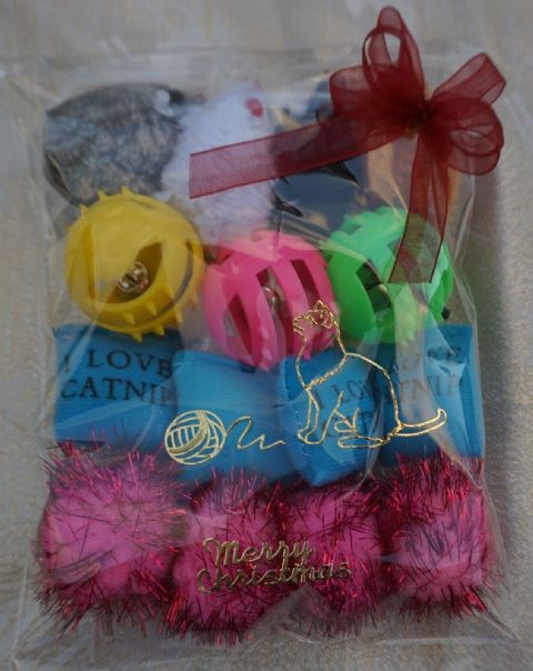CHRISTMAS CAT TOY PACK - HAND DECORATED AND FILLED WITH 15 ASSORTED CAT TOYS #6